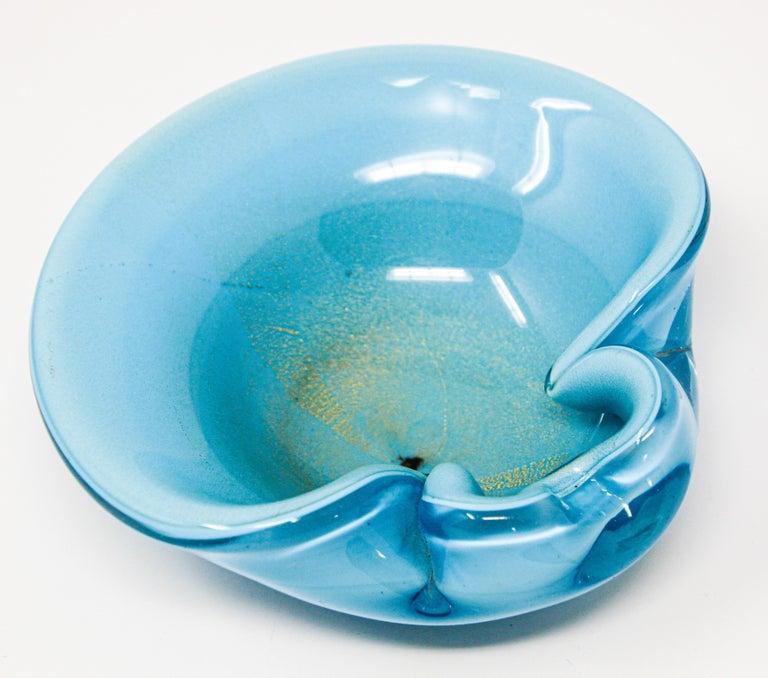 Blown Glass Alfredo Barbini Murano Venetian Handblown Art Glass Turquoise Ashtray For Sale