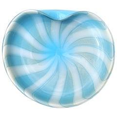Alfredo Barbini Murano White Blue Gold Swirl Italian Art Glass Midcentury Bowl