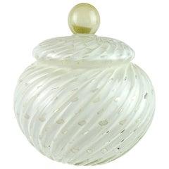 Alfredo Barbini Murano White Bubbles Gold Flecks Italian Art Glass Cookie Jar