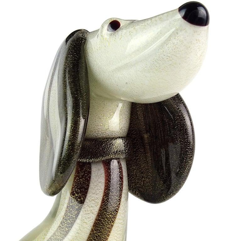 Mid-Century Modern Alfredo Barbini Murano White Dalmatian Italian Art Glass Sculpture Puppy Dog For Sale