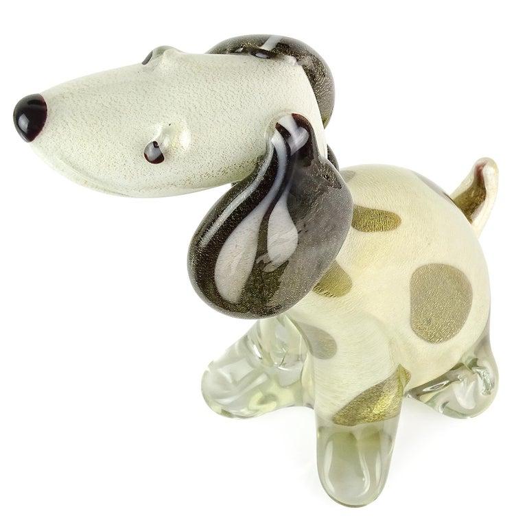 Hand-Crafted Alfredo Barbini Murano White Dalmatian Italian Art Glass Sculpture Puppy Dog For Sale