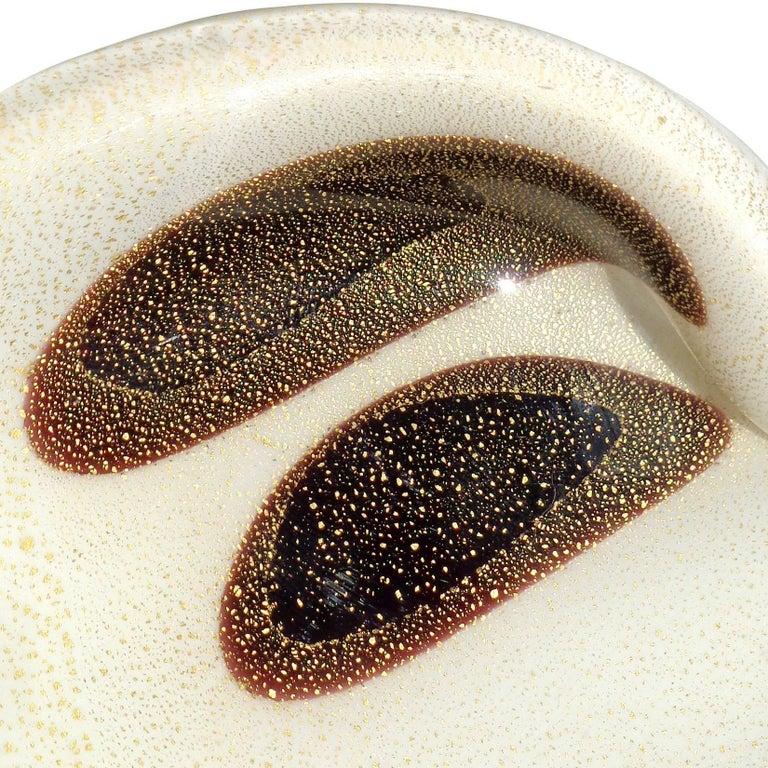 Mid-Century Modern Alfredo Barbini Murano White Gold Flecks Black Spots Italian Art Glass Bowl For Sale