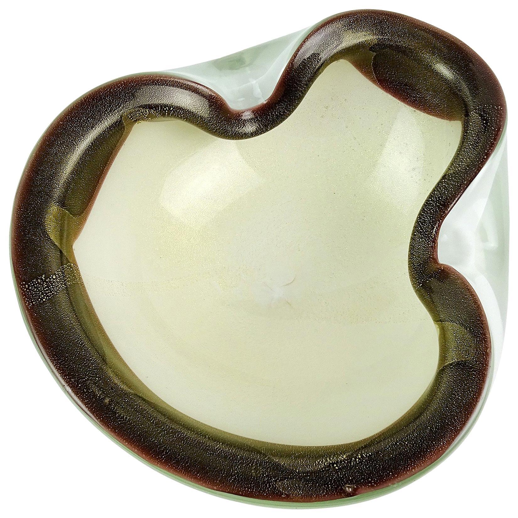 Alfredo Barbini Murano White Gold Flecks Black Spots Italian Art Glass Bowl