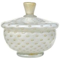 Alfredo Barbini Murano White Gold Flecks Italian Art Glass Vanity Powder Box