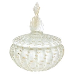 Alfredo Barbini Murano White Gold Leaf Top Italian Art Glass Vanity Powder Box