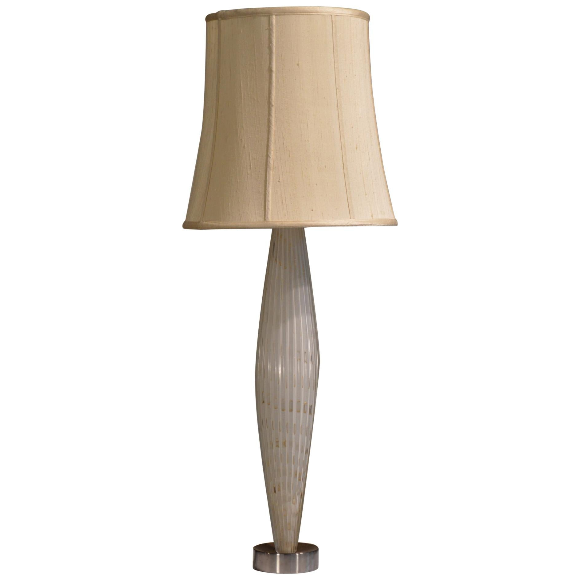 Alfredo Barbini Tall White and Gold Ribbed Murano Glass Table Lamp