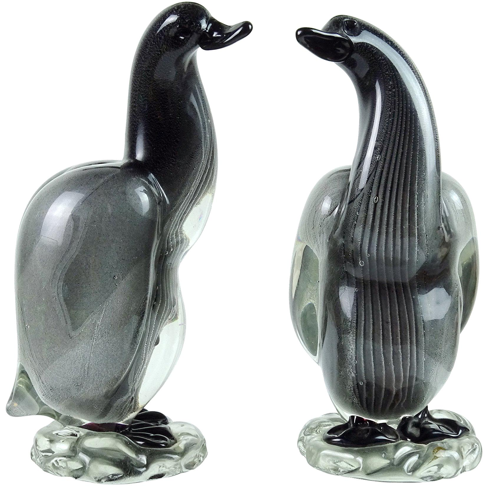 Alfredo Barbini Vamsa Murano Black Sfumato Italian Art Glass Bird Sculptures