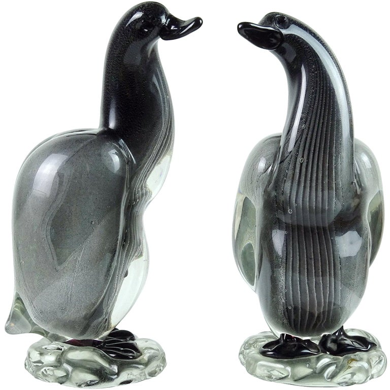 Alfredo Barbini Vamsa Murano Black Sfumato Italian Art Glass Bird Sculptures For Sale