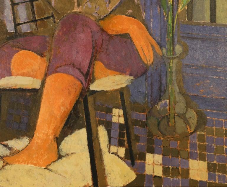 Mujer en Azul y Gris - Painting by Alfredo Roldan
