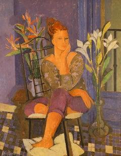 Mujer en Azul y Gris
