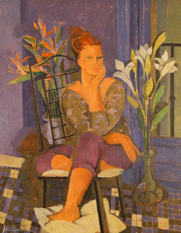 Alfredo Roldan Figurative Painting - Mujer en Azul y Gris