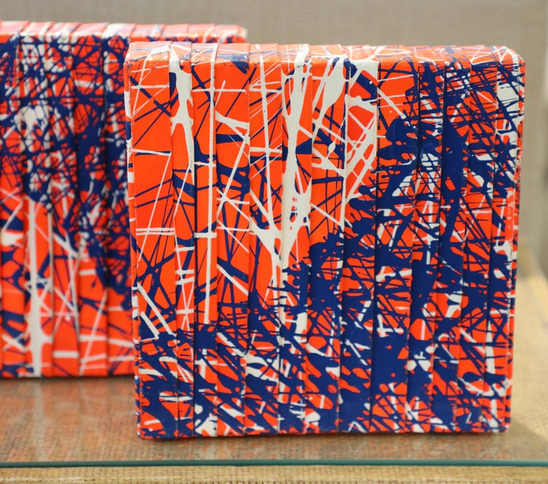 Alfredo Salazar Folded Canvas Four-Piece Abstract Art In Good Condition For Sale In Palm Springs, CA