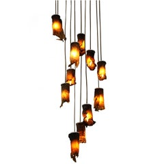Algae Chandelier, Contemporary Customizable Lighting in Natural, Organic Algae