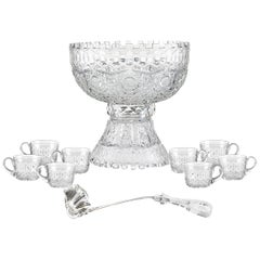 Alhambra Brilliant Period Cut-Glass Punch Bowl Set by Meriden