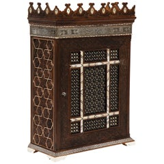 """Alhambra Islamic"" Silver, Mother of Pearl, and Bone Inlaid Wall Hanging Cabinet"