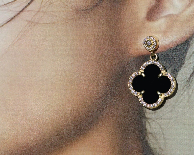 Gemstone: Black Onyx, AAA Grade Cubic Zirconia Metal: 18K Gold, Sterling Silver Style: French