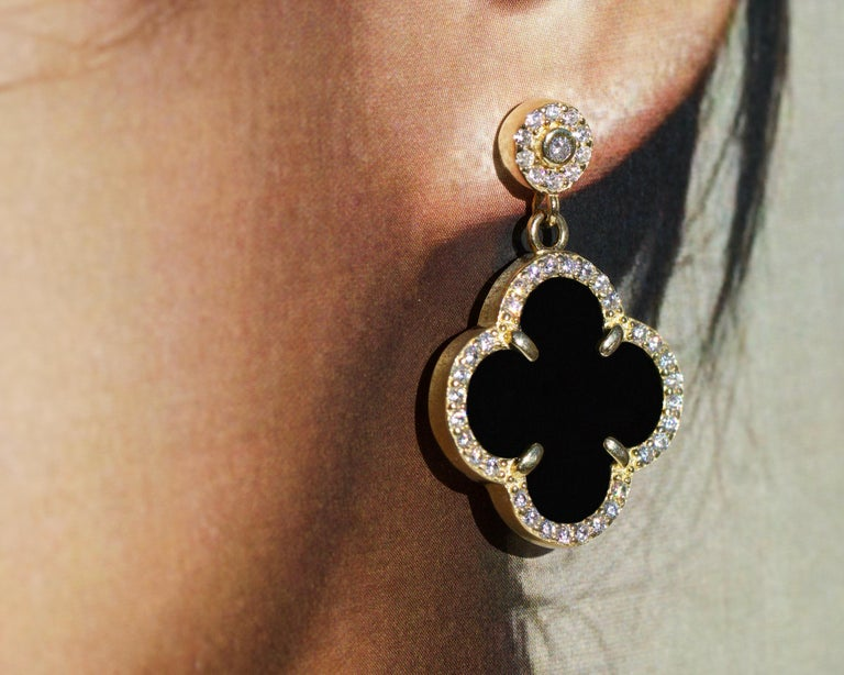 Black Onyx 18 Karat Gold Sterling Silver Earrings In Excellent Condition For Sale In Rancho Santa Fe, CA