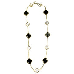Alhambra Style Black & White Necklace 18K Gold on Sterling Silver
