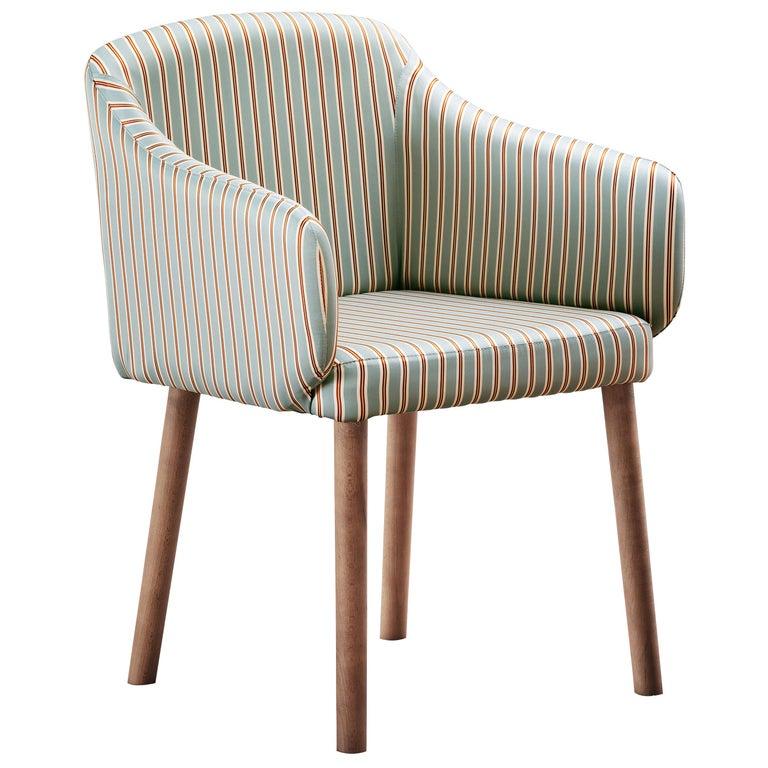 For Sale: Multi (Dedar Alumnus Celadon) Ali Armrest Chair in Beech Walnut Base with Seat, by Philippe Tabet
