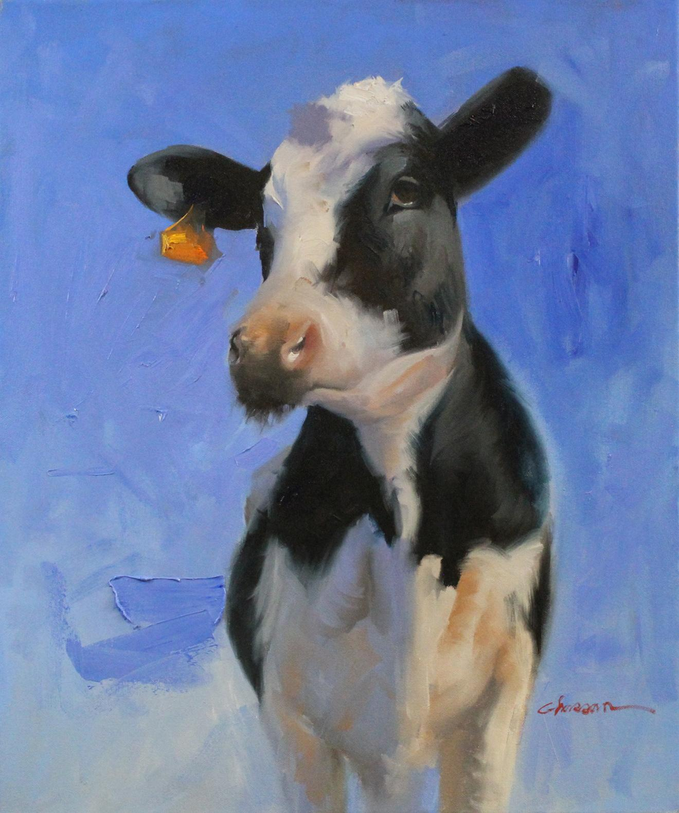 """""""Black Cow"""", Oil Painting"""