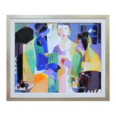 """""""As Night Falls"""" Colorful Abstract Contour Line Painting of Three Seated Women"""