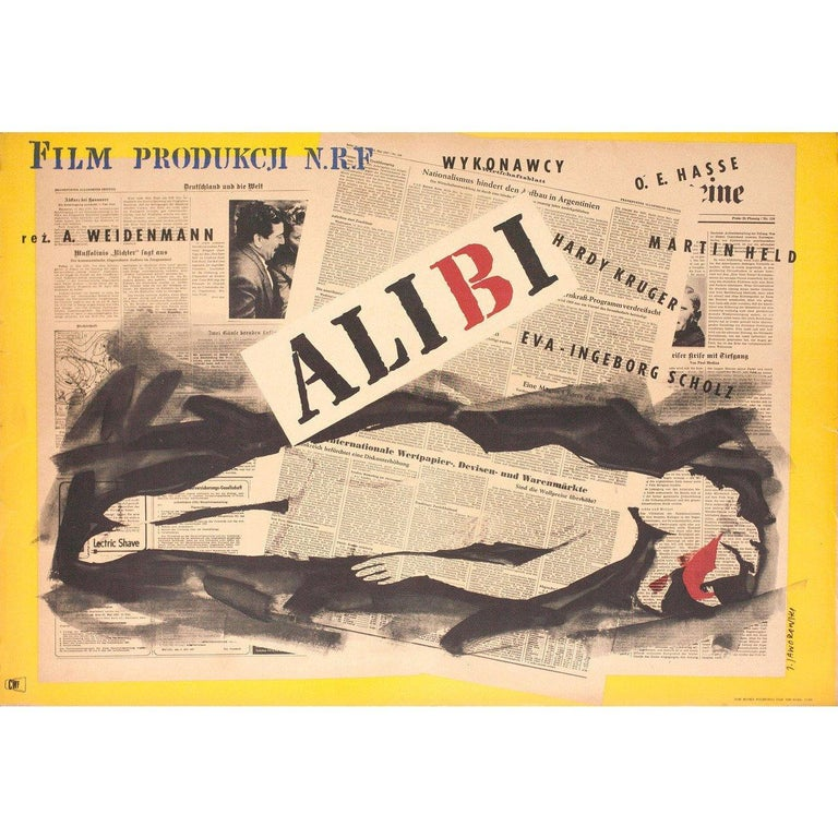 Alibi 1957 Polish A1 Film Poster In Good Condition For Sale In New York, NY