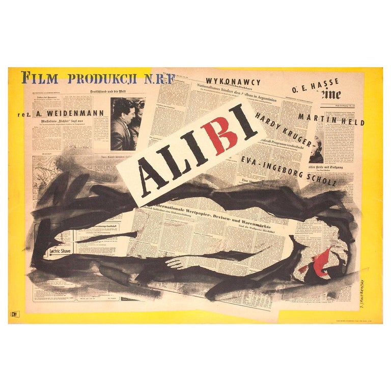 Alibi 1957 Polish A1 Film Poster For Sale