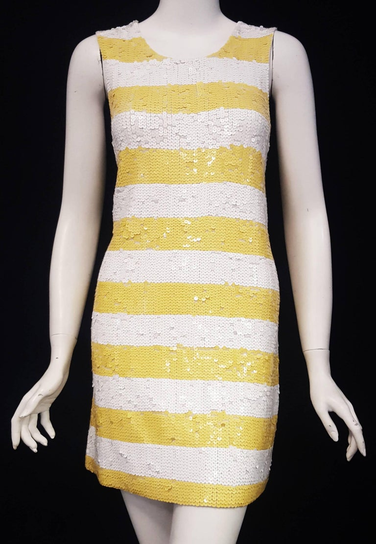 Alice Olivia White Yellow Stripes Sequined Short Dress In Excellent Condition For