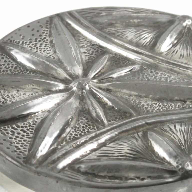 Alice and Eugene Chanal French Art Nouveau Pewter Flat Box For Sale 1