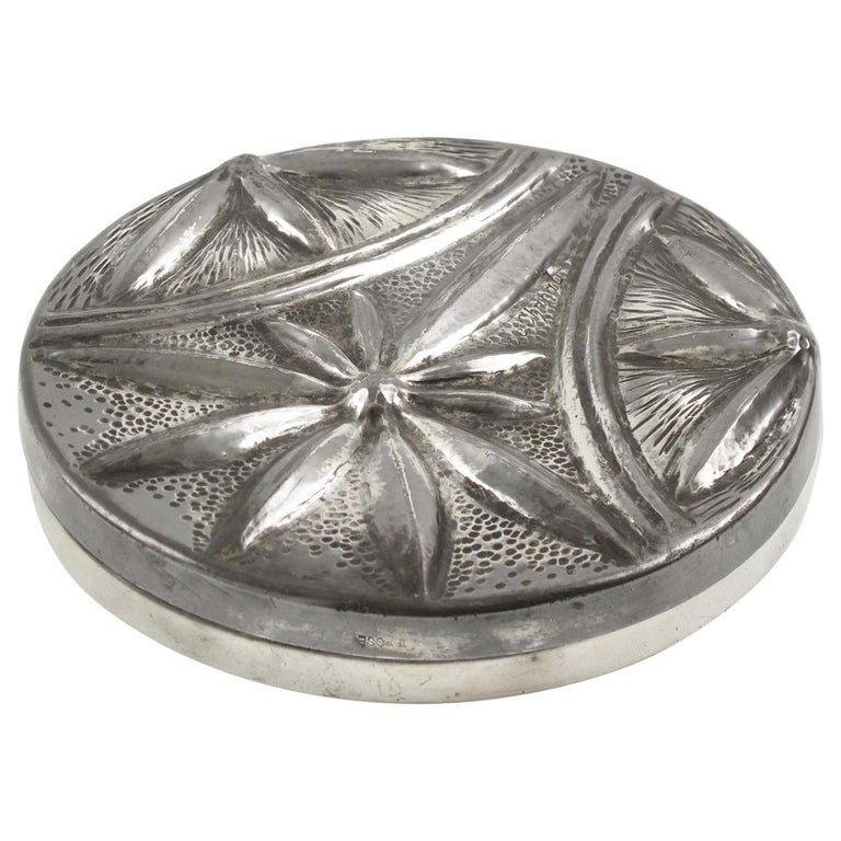 Alice and Eugene Chanal French Art Nouveau Pewter Flat Box For Sale