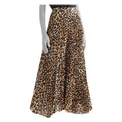 Alice and Olivia Katz Metallic Leopard Print Pleated Maxi Skirt XS 4