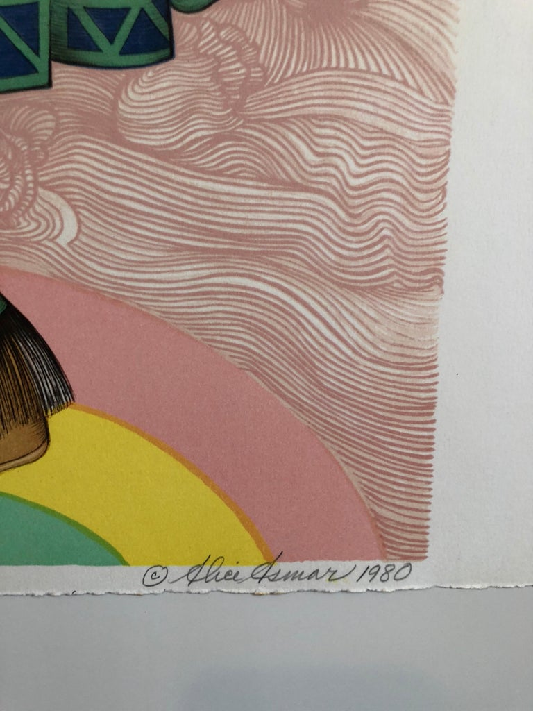 Rainbow Dancer, Native American Indian Lithograph California Woman Artist - Contemporary Print by Alice Asmar