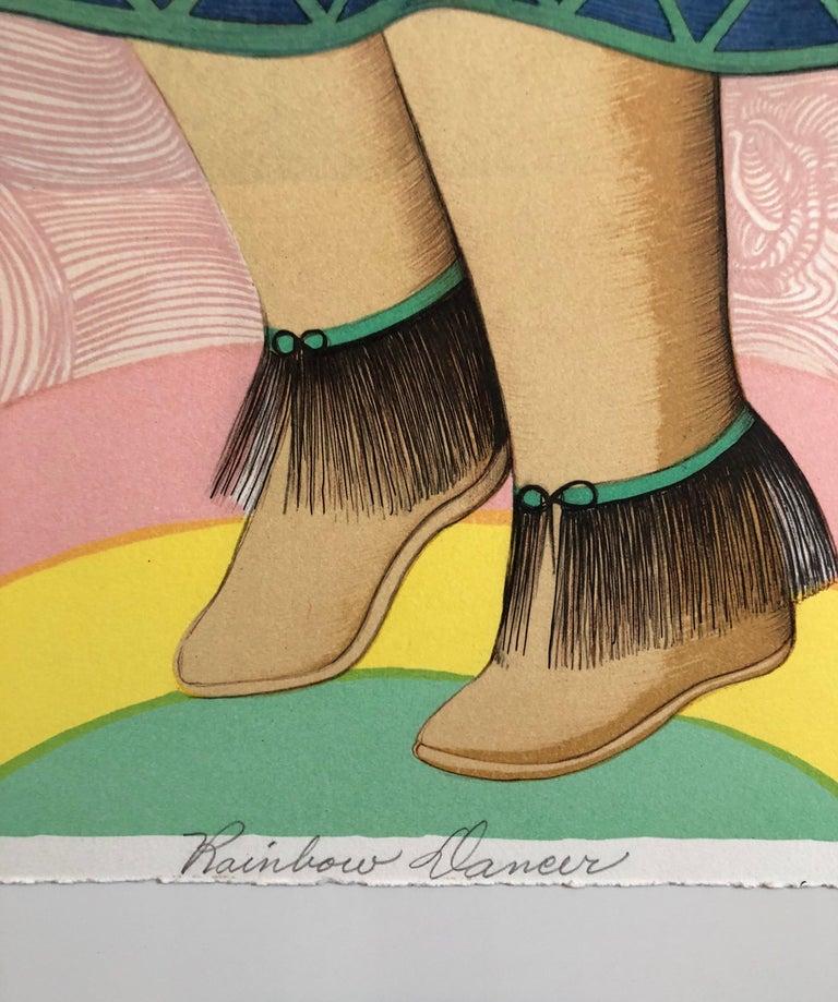 Rainbow Dancer, Native American Indian Lithograph California Woman Artist - Brown Figurative Print by Alice Asmar