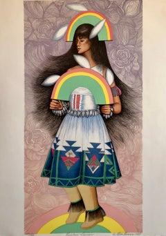 Rainbow Dancer, Native American Indian Lithograph California Woman Artist