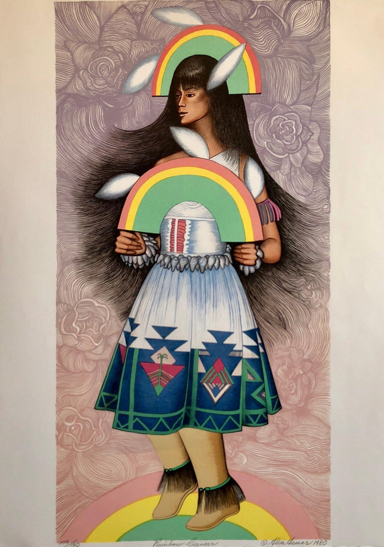 Alice Asmar Figurative Print - Rainbow Dancer, Native American Indian Lithograph California Woman Artist