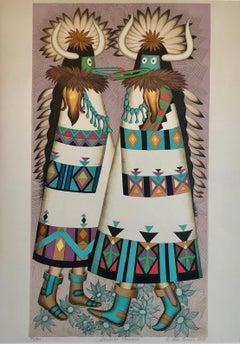 Shalako Dancer, Native American Indian Lithograph California Woman Artist