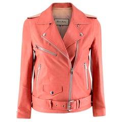 Alice Balas Pink Paneled Lambskin Biker Jacket - Size XS