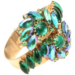 Alice Caviness Colored Crystal and Gold Tone Clamp Bracelet Mid Century Modern