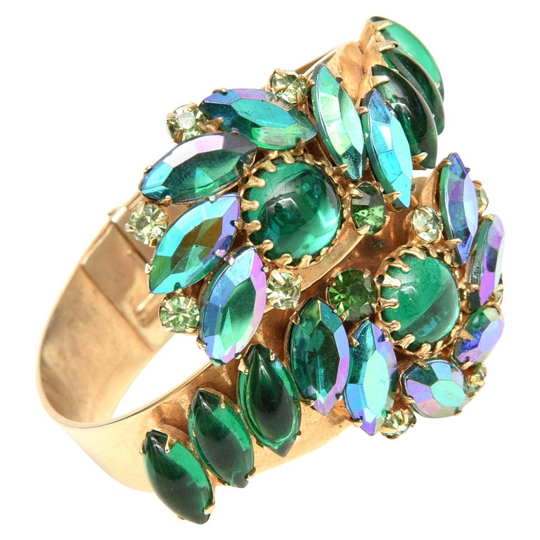 Alice Caviness Colored Crystal and Gold Tone Clamp Bracelet Mid Century Modern For Sale