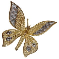 Alice Caviness Sterling Silver with Gold Overlay Moveable Butterfly Wings Brooch