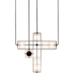 Alice Chandelier Sandblasted Handblown Glass in Solid Brass or Blackened
