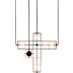 Alice Chandelier Geblasenes Glas mit Messing, Geschwärzt