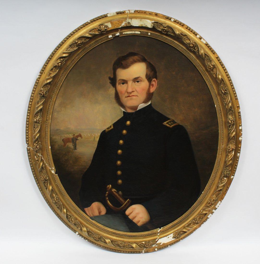 Antique American School Realist Portrait Civil War Ere Army General Oil Painting