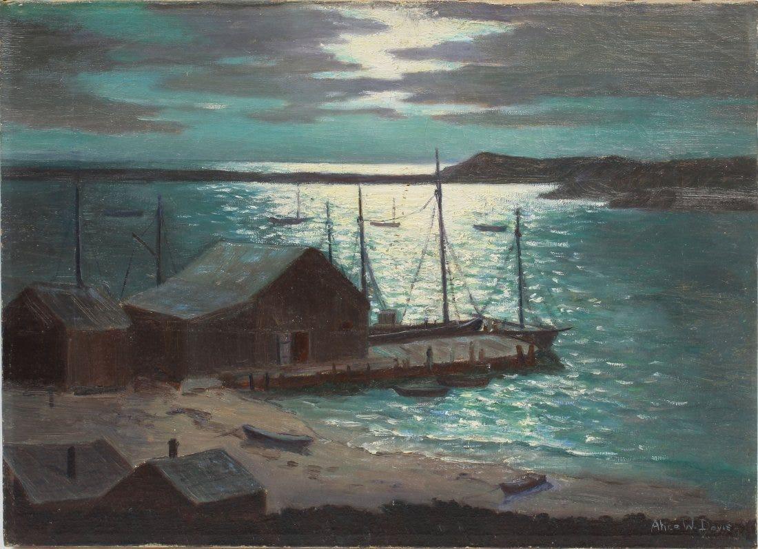 Antique Woman Artist Impressionist Moonlit Harbor Seascape Signed Oil Painting