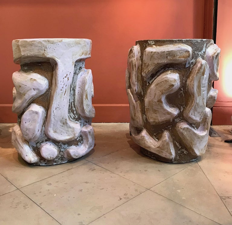 Alice Gavalet 2018, pair of unique side tables, enameled sandstones, measures: Height 50 cm, diameter of top 35 cm, unique piece, signed. Alice Gavalet Born in 1978, lives and works in France. Education 2003 ?Diploma in Industrial Design, Ecole