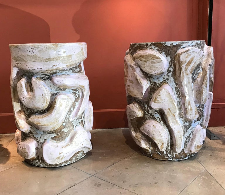 French Alice Gavalet 2018, Pair of Unique Side Tables, Enameled Sandstone For Sale