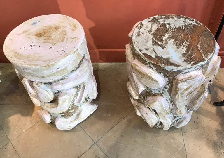 Patinated Alice Gavalet 2018, Pair of Unique Side Tables, Enameled Sandstone For Sale