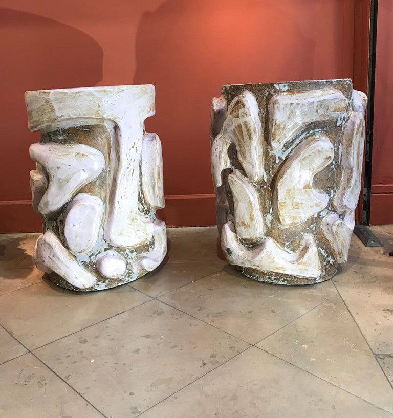 Alice Gavalet 2018, Pair of Unique Side Tables, Enameled Sandstone In Excellent Condition For Sale In Paris, FR