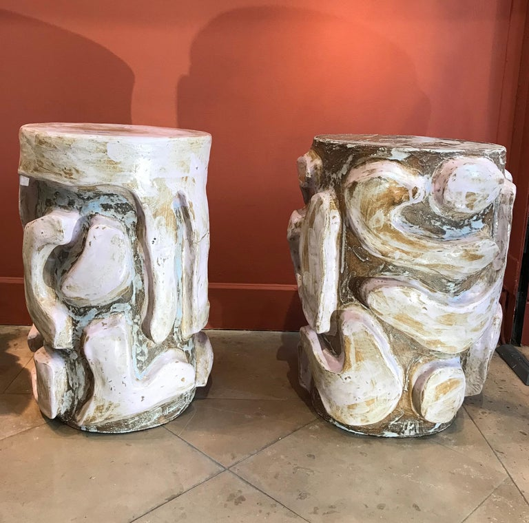 Contemporary Alice Gavalet 2018, Pair of Unique Side Tables, Enameled Sandstone For Sale