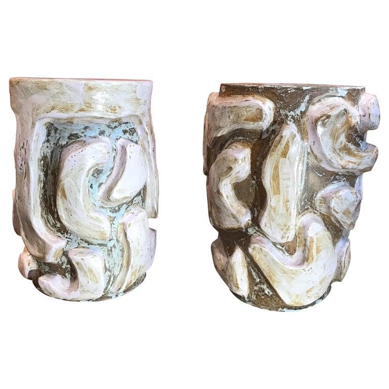 Alice Gavalet 2018, Pair of Unique Side Tables, Enameled Sandstone For Sale